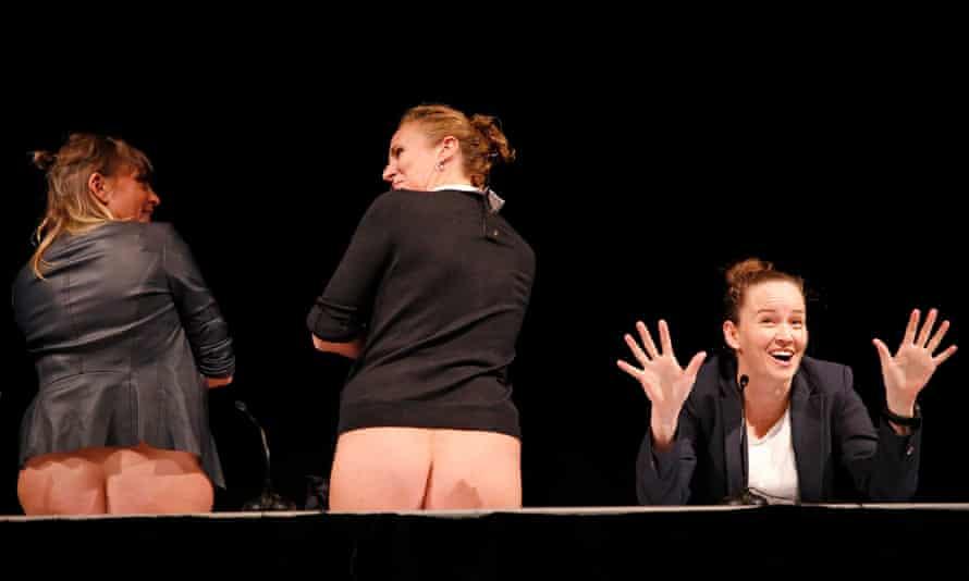 Zoe Coombs Marr, Ursula Martinez and Adrienne Truscott in Wild Bore at the Edinburgh international festival.