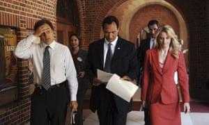 Walk'n'talk pioneers: The West Wing's Josh Lyman (Bradley Whitford), Matthew Santos (Jimmy Smits) and Helen Santos (Teri Polo).