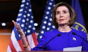 Nancy Pelosi speaks at the US Capitol in Washington DC on Thursday.