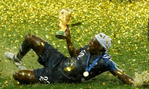 France's Benjamin Mendy celebrates with the World Cup after his side saw off Croatia 4-2 at the Luzhniki Stadium in Moscow.