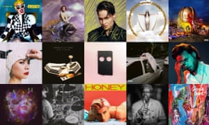 Albums of 2018: top row, Cardi B, SOPHIE, Christine and the Queens, Rosalia, Travis Scott; middle row, Mitski, Arctic Monkeys, Low, Blood Orange, Father John Misty; bottom row, Let's Eat Grandma, John Coltrane, Robyn, Lonnie Holley, Goat Girl