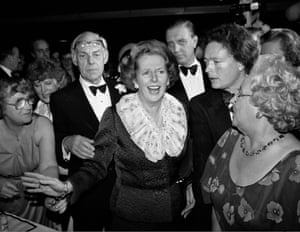 Margaret Thatcher and husband Denis attend a ball during the Conservative party conference in Brighton, 11 October 1984. That night the Grand Hotel, where they and many other politicians were staying, was bombed by the IRA
