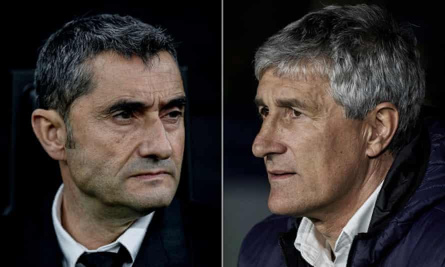 Ernesto Valverde (left) is replaced by Quique Setién (right).