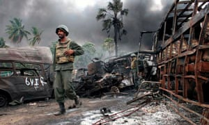 Sri Lankan military image taken near Mullaittivu, 2009. Victory over the separatist Tamil Tigers was declared by the Sri Lankan president that year.