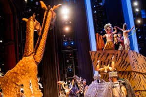 Simba (Nick Afoa), Rafiki (Gugwana Dlamini) and Nala (Janique Charles) during the finale of Disney's The Lion King at the Lyceum Theatre