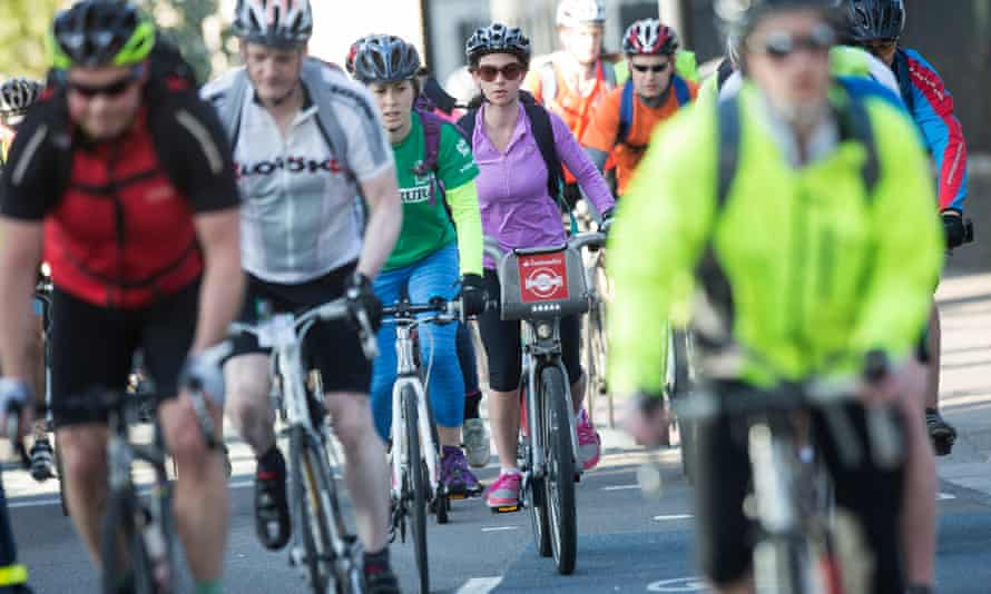 Cyclists on a section of the 'cycle superhighway 8' in London