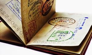 Close-up of open passport