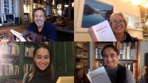Private Lives in rehearsal … clockwise from top left, Robert Lindsay, Emma Thompson, Sanjeev Bhaskar and Emilia Clarke.