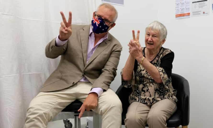 Prime minister Scott Morrison with World War II survivor Jane Malysiak when she received Australia's first Covid vaccine on 21 February 2021.