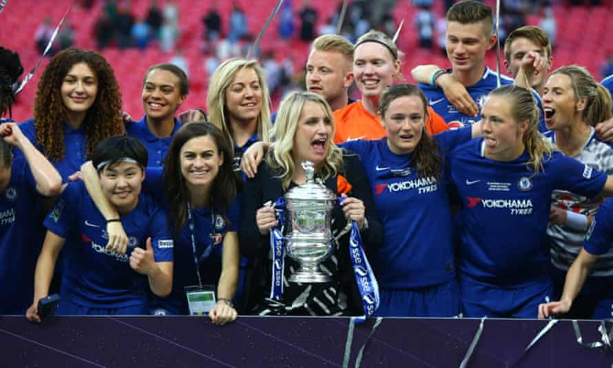 Emma Hayes and Chelsea with the FA Cup trophy.