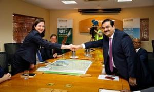 Adani Group chairman Gautam Adani meets with Queensland premier Annastacia Palaszczuk in December 2016.