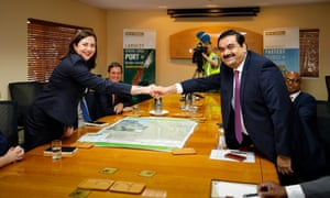 Adani Group chairman Gautam Adani meets with Queensland premier Annastacia Palaszczuk