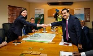 Adani Group chairman Gautam Adani meets with Queensland premier Annastacia Palaszczuk