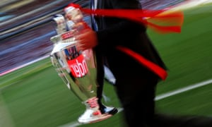 The Champions League trophy being carried before Saturday's final in Madrid.