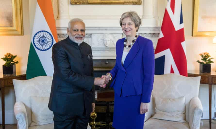 Indian prime minister Narendra Modi meets Theresa May ahead of the Commonwealth Heads of Government meeting.
