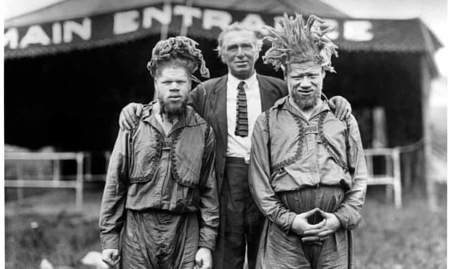 The Muse brothers … Willie (left) and George with showman Al G Barnes, 1918-22.