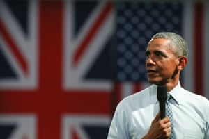 Barack Obama answers questions from members of the audience at an event in central London.