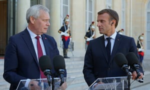 Antti Rinne and Emmanuel Macron