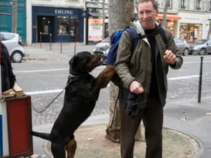 Uncomfortable … the shot by Simone that includes his dog Bruno, at Rue Tronchet in Paris.