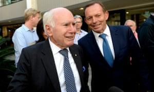 Former Australian prime ministers John Howard and Tony Abbott.