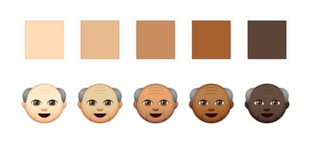 Five skin tone options as presented by Apple. These are based on the Fitzpatrick scale, which is used to define various shades of skin tones.