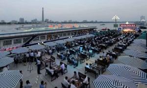 Aerial view of the Pyongyang beer festival.