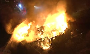 A massive fire burns at the Barclay Friends Senior Living Community in West Chester, Pa.