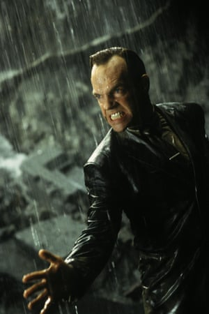 Hugo Weaving stars as Agent Smith in The Matrix trilogy. (Pictured: The Matrix Revolutions 2003)