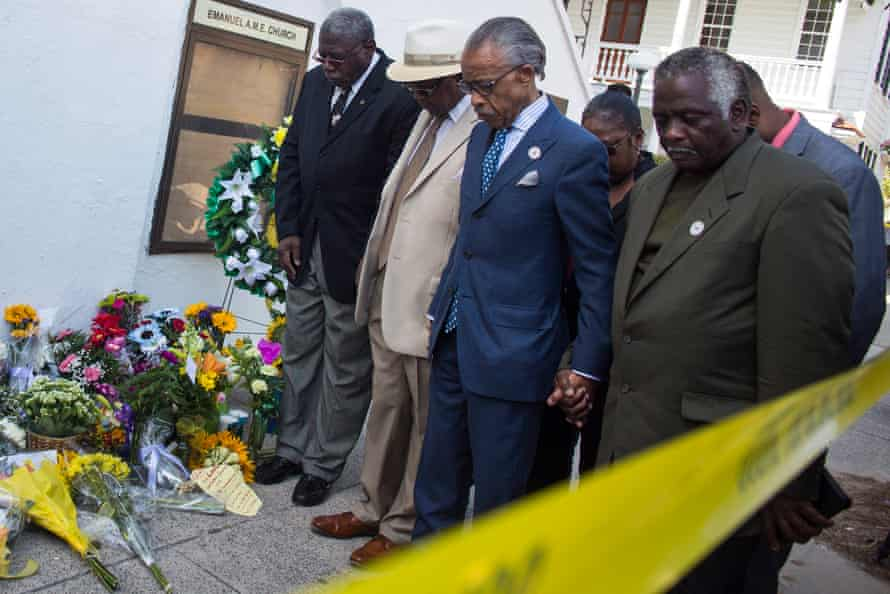 The Rev Al Sharpton visits the memorial site at the church where nine people were murdered in Charleston, South Carolina.