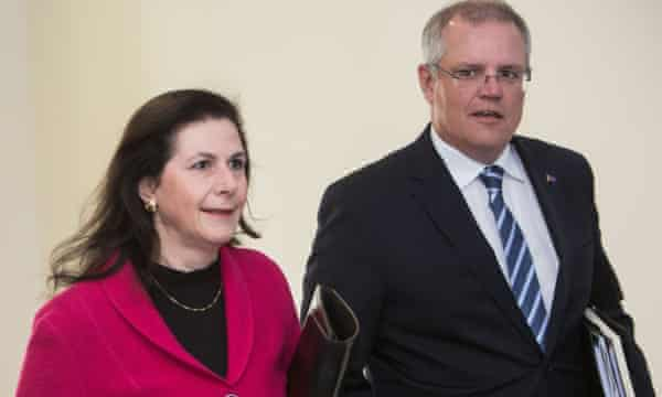 Concetta Fierravanti-Wells, pictured with Australian prime minister Scott Morrison, has echoed Donald Trump's language in talking about the 'Wuhan virus' and wants Australia to 'decouple' economically from China.
