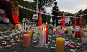 Candles left outside Al Noor mosque in Christchurch to commemorate victims of the shootings