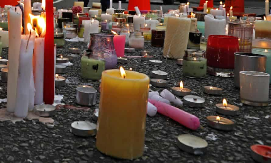 Candles left outside the Al Noor mosque in Christchurch as part of a vigil to commemorate the victims of the March attacks.