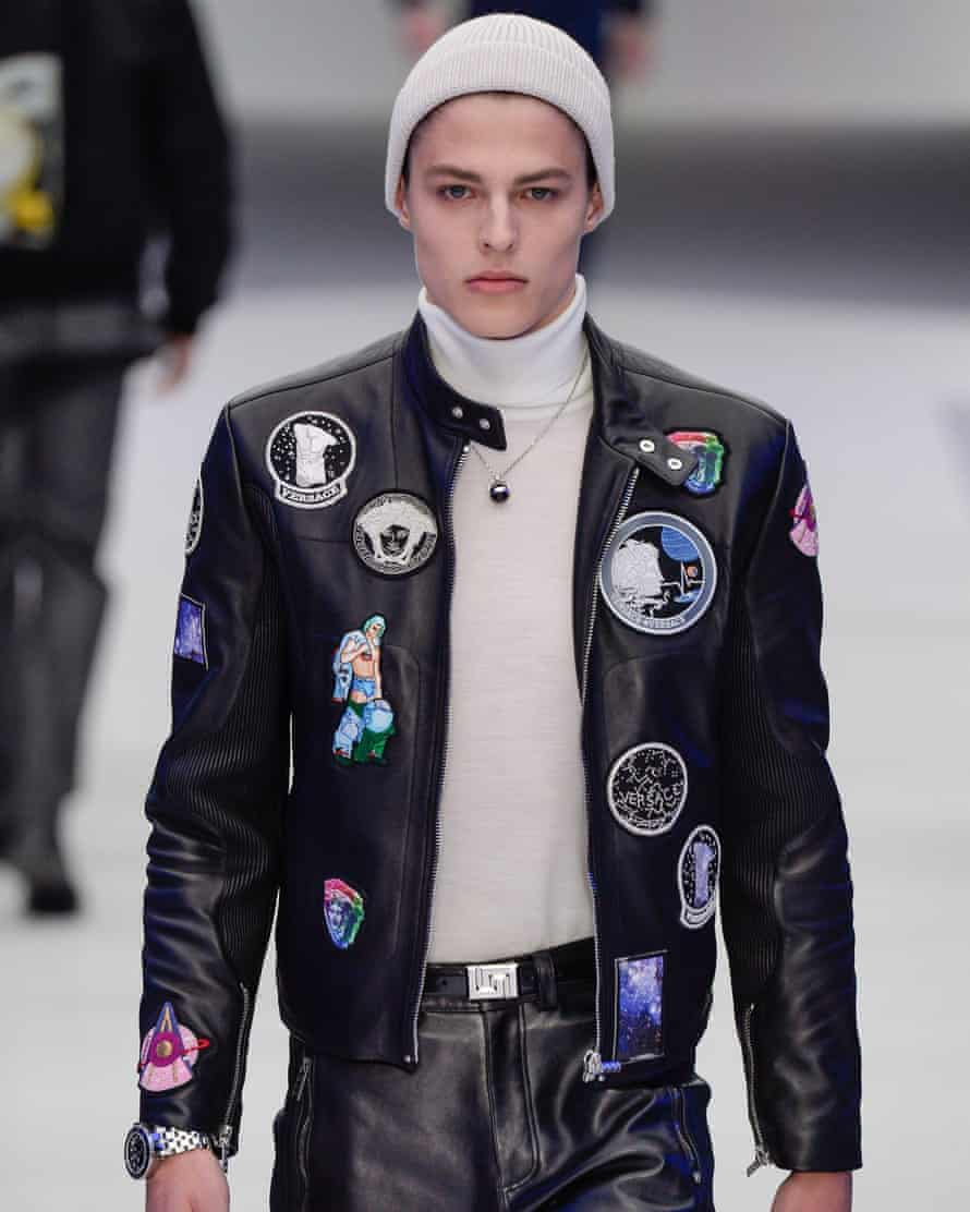 A model wearing a Versace take on the NASA jacket for autumn/winter 2016.