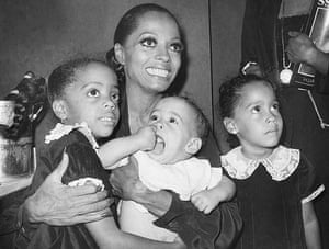 Diana Ross with her daughters backstage at the Palace Theater in New York June 14 1976. From left: Rhonda Suzanne, Chudney Lane and Tracee Joy.