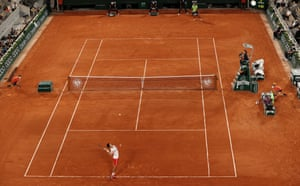 Novak Djokovic serves to Rafael Nadal.