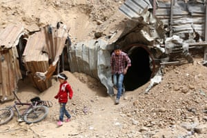 Children exiting a a section of the tunnels