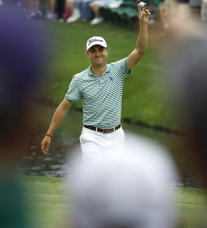 Thomas celebrates after hitting a hole in one on the 16th.