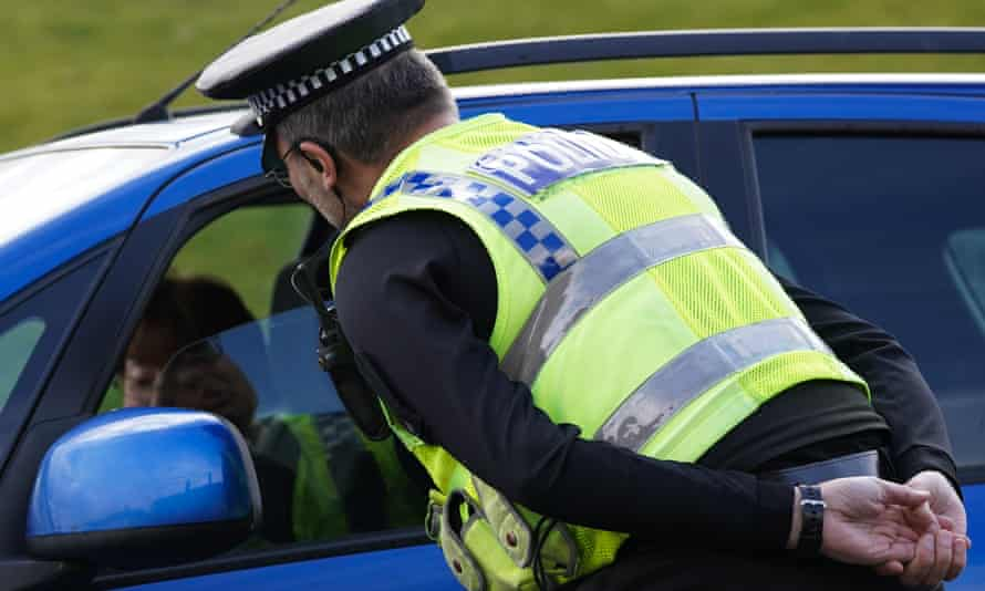 A North Yorkshire police officer talks to a motorist in March.