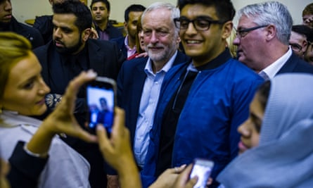 Jeremy Corbyn Leader of the Labour Party at a rally at the Central Mosque community centre in Glasgow.