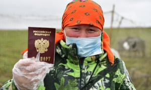 A woman votes in the 2020 Russian constitutional referendum in Priuralsky District of the Yamalo-Nenets Autonomous Area