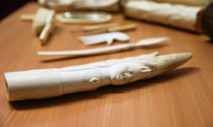 Artefacts made from ivory on display in Belgium. An Avaaz investigation has found illegal ivory on sale across Europe.