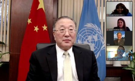Zhang Jun, China's permanent representative to the UN, attends a ceremony via Zoom