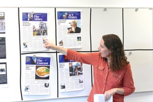Suzanne Warr, G2 Production Editor, gives delegates at a teacher training session feedback on their newspaper pages, 7 February 2019