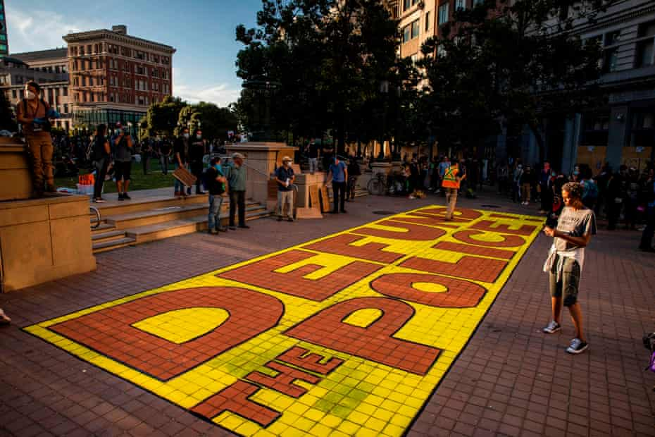 A mural painted in Frank Ogawa Plaza during a protest against the killing of George Floyd.