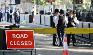 Security in Westminster before the Queen's speech.