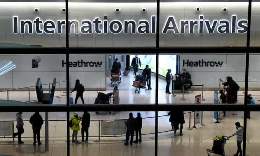 Travellers arriving at Heathrow Terminal 2