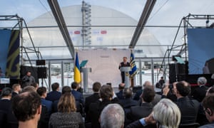 Ukraine's president, Petro Poroshenko, speaks at a ceremony in Chernobyl
