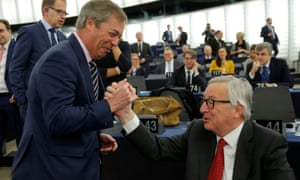 Nigel Farage (left) greeting Jean-Claude Juncker, president of the European commission, in the European parliament ahead of today's debate.