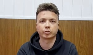 Belarusian blogger Roman Protasevich, detained when a Ryanair plane was forced to land in Minsk, appears in video