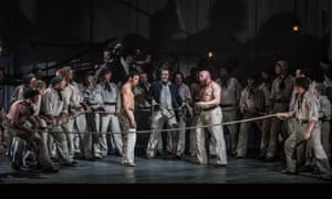 'One of the few moments when the show generates any energy' … a wrestling bout between Billy (Roderick Williams) and Red Whiskers (Daniel Norman) in Billy Budd at Leeds Grand theatre.